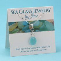 Aqua Sea Glass Infinity Pendant