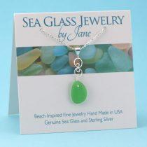 Lime Green Sea Glass Infinity Pendant
