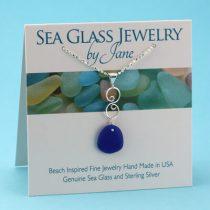 cute Cobalt Blue Sea Glass Infinity Pendant