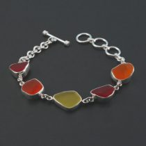 Rare Red Orange Yellow Sea Glass Bracelet
