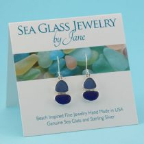 Blue Shades Sea Glass Sailboat Earrings