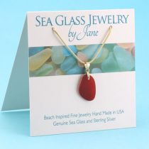 Beautiful Shape Red Sea Glass Pendant