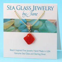 Red Sea Glass Vintage Hobnail Pendant