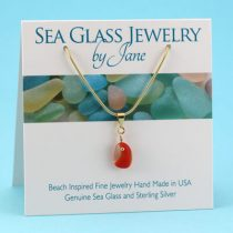 Tiny Red & White Multi Sea Glass Pendant