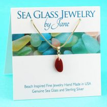 Beautiful Shape Red Sea Glass Pendant with Gold