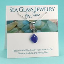 N139 Cobalt Blue Beach Glass Necklace