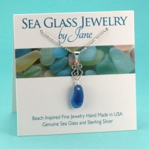 N238 Shades of Blue Sea Glass Pendant