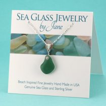 N280 Olive Teal Sea Glass Pendant
