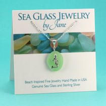 N448 UV Green Sea Glass Pendant with Mermaid Charm
