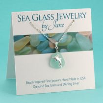 N574 Awesome Aqua Sea Glassl Pendant with Dolphin Charm