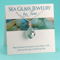 N592 Aqua Sea Glass Pendant Crab Charm