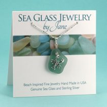 N820 Deep Aqua Teal Sea Glass Pendant with Lobster Charm