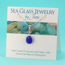 N875 Small Perfect Shape Cobalt Blue Sea Glass Pendant