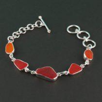 Ultra Rare Red & Orange Sea Glass Bracelet