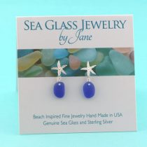 E603-Cute-Cobalt-Blue-Sea-Glass-Starfish-Earrings