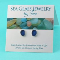 Classy Cornflower Blue Sea Glass Stud Earrings