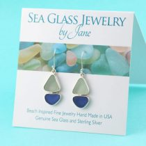 Blue & Sea Foam Sea Glss Sailboat Earrings