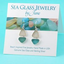 Watercolors Sea Glass Sailboat Earrings