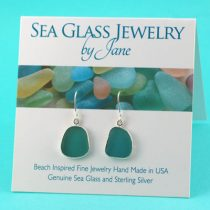 Deep Aqua Sea Glass Earrings