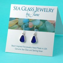 Dark Blue Sea Glass Earrings