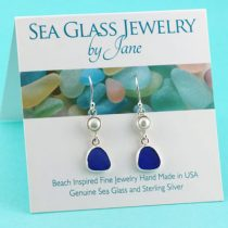 Beautiful Blue Sea Glass Earrings with Pearls