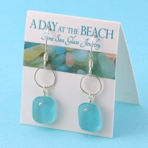 Aqua Sea Glass Earrings with Silver Accent