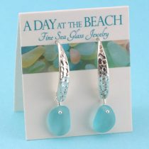 Deep Aqua Sea Glasls Designer Earrings