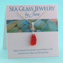 Cherry Red Good Luck Sea Glass Pendant