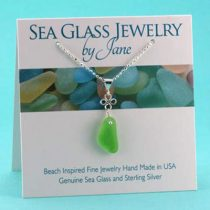 Lime Green Good Luck Sea Glass Pendant