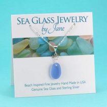 Cornflower Blue Good Luck Sea Glass Pendant