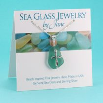 Aqua Teal Sea Glass Pendant with Cross