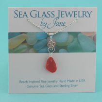 Small Red Sea Glass Pendant