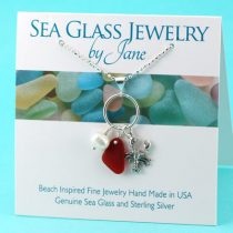 Bright Red Sea Glass & Lobster Charm Pendant