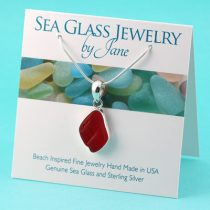 Cherry Red Sea Glass Pendant