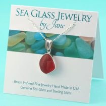 Cherry Red Sea Glass Pendant
