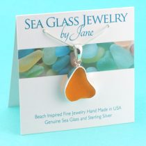 Uber Rare Bright Orange Sea Glass Pendant