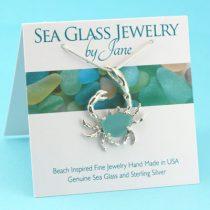 Large Aqua Sea Glass Crab Pendant