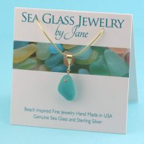 Teal Sea Glass Pendant with Gold
