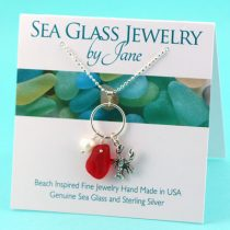 Bright-Red-Sea-Glass-&-Lobster-Charm-Pendant