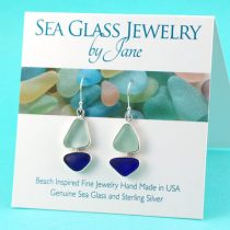 Sea Glass Sailboat Earrings Cobalt Blue & Sea Foam