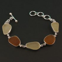 Amber & Yellow Sea Glass Bracelet
