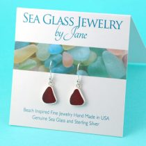 Royal Red Sea Glass Earrings