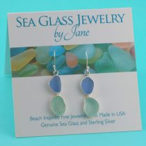 Blue & Sea Foam Double Sea Glass Earrings