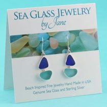 Aqua-&-Blue-Sea-Glass-Sailboat-Earrings