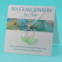 Rare UV Trio Sea Glass Pendant