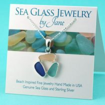 Cobalt fPink Aqua Triple Sea Glass Pendant