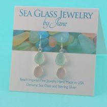 Sea Foam & Lavender Double Sea Glass Earrings