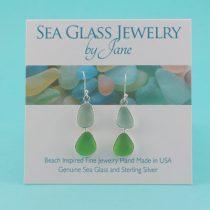 Sky Blue & Lime Double Sea Glass Earrings