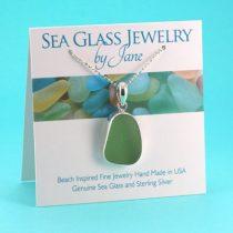 Pretty Light Olive Sea Glass Pendant