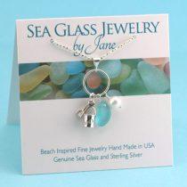 Aqua Sea Glass Necklace with Sand Bucket Charm & Pearl